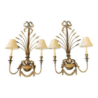 Vintage La Barge Brass and Bronze Electric Wall Sconces - a Pair For Sale