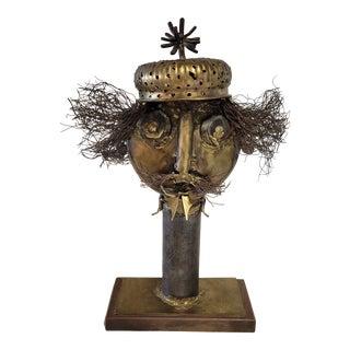 Mixed Metal Scraps Head Sculpture For Sale