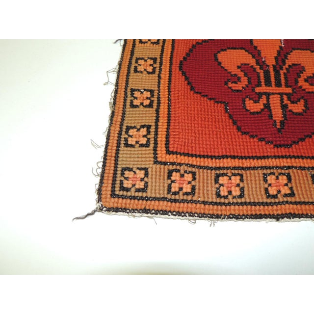 Vintage Fleur-de-Lis orange and red tapestry Stylized Fleur-de-Lis tapestry from the 1940's and framed with a floral...