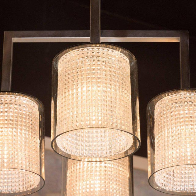 Gold Scandinavian Mid-Century Modern Four-Arm Chandelier, Carl Fagerlund for Orrefors For Sale - Image 8 of 11