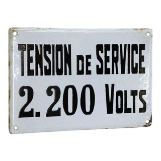20th Century French Tension De Service Sign For Sale