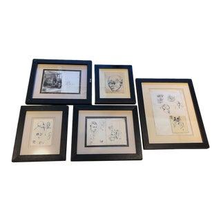 Mid 20th Century Figurative Drawings by Alek Rapoport, Framed - Set of 5 For Sale