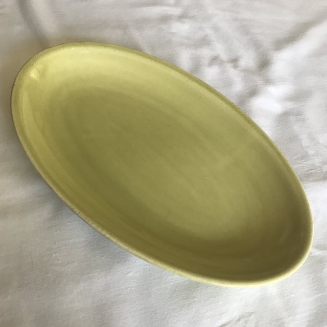 Lovely Paden City Pottery (c. 1914-1963) chartreuse small platter. Perfect for small bites! Mark dates piece to 1951.