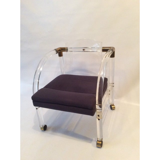 Mid-Century Lucite & Brass Lounge Chair - Image 9 of 9