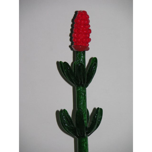 1980s Italian Organic Green Murano Glass Potted Plants With Red Flower - a Pair For Sale In New York - Image 6 of 8