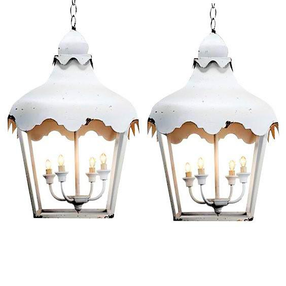 Lights Chinoiserie Brighton Pagoda Style Tole Lanterns - a Pair For Sale - Image 7 of 8