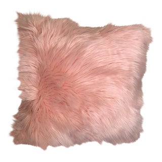 Valentines Hollywood Regency Pink Faux Fur Pillow