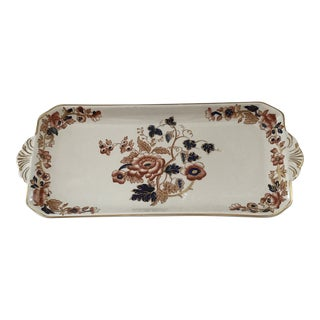 1940s Enoch Wedgwood Tunsdall Windermere Orange and Blue Tray For Sale