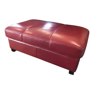 Late 20th Century Leather Upholstered Ottoman For Sale