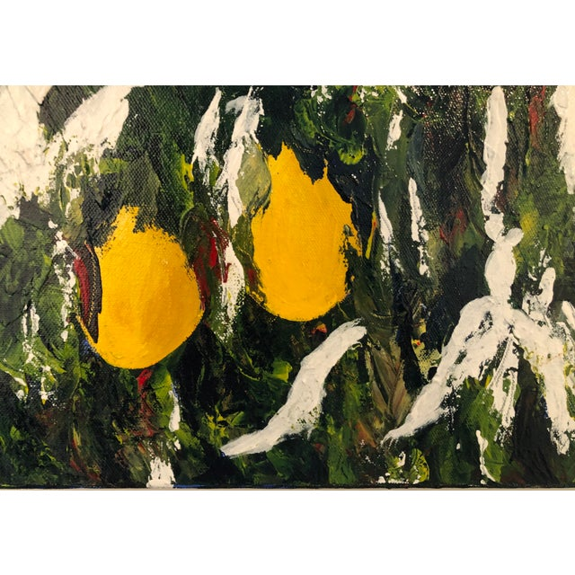 Meyer Lemons in the Snow Acrylic on Stretched Canvas Signed by Artist Framed Green Yellow White For Sale In Los Angeles - Image 6 of 11