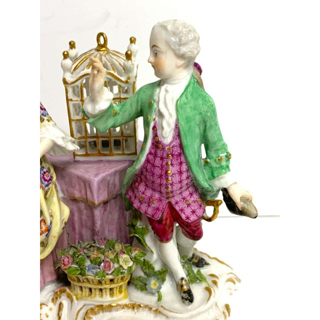 Meissen Porcelain 19th Century Meissen Birdcage Grouping For Sale - Image 4 of 12