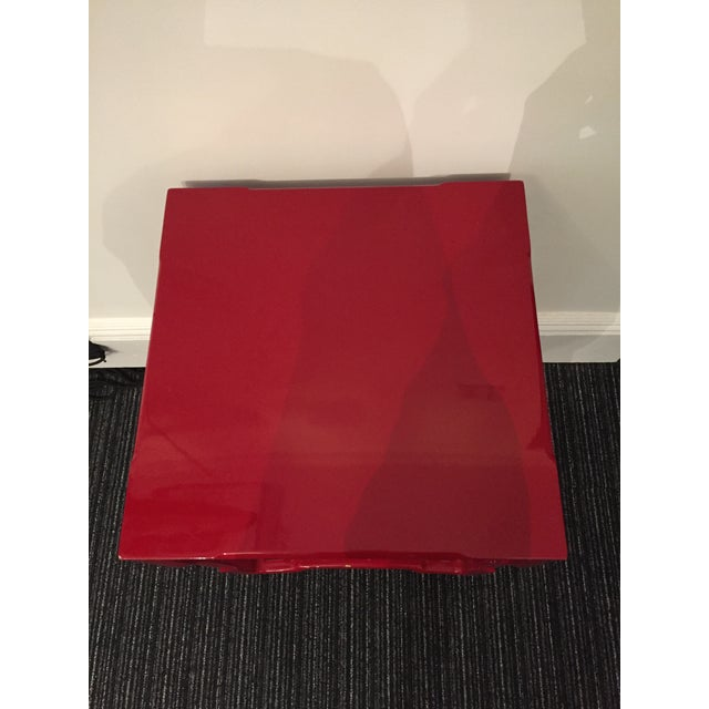 Modern-Asian Red Square Side Table - Image 4 of 5