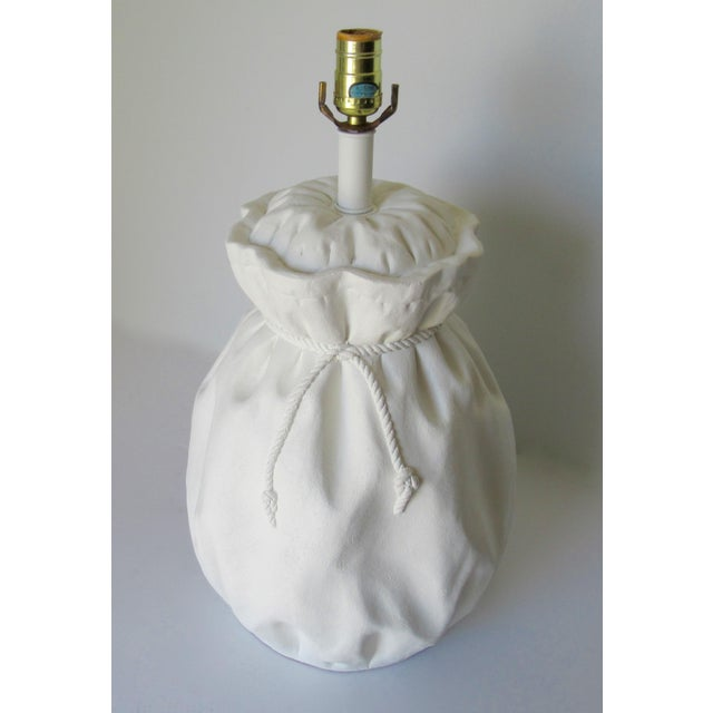John Dickinson-Style Draped Plaster Rope Cinched Lamp For Sale In West Palm - Image 6 of 13
