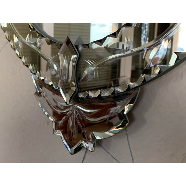 Glass New Oval Venetian Mirror With Crest For Sale - Image 7 of 8
