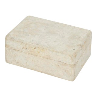 Small Postmodern Matte White Tessellated Stone Lidded Decorative Box, 1990s For Sale