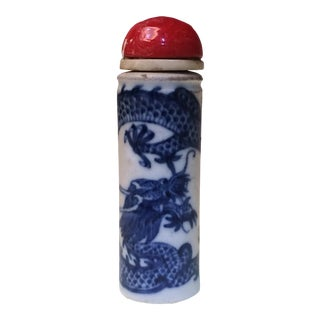 Antique 19th Century Chinese Porcelain Dragon Snuff Bottle For Sale