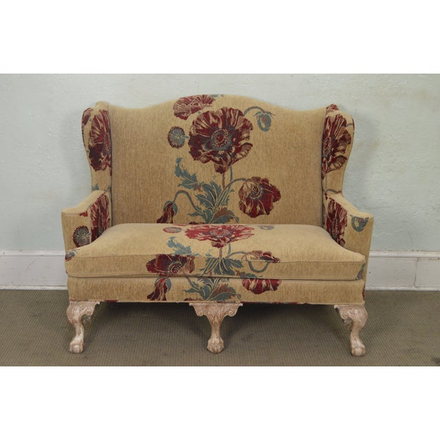 Drexel Heritage Gentlemans Home Floral Upholstered Chippendale Settee Loveseat For Sale - Image 11 of 13