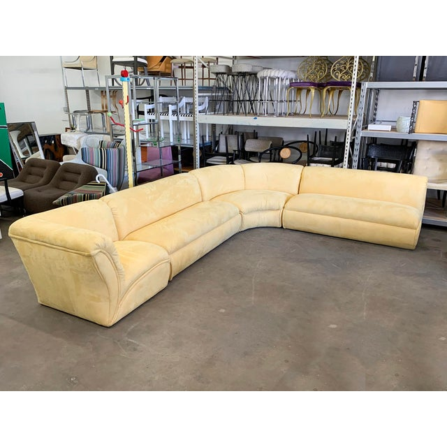 Available right now we have this gorgeous post modern 4 piece sectional sofa. This stunning vintage sofa is upholstered in...