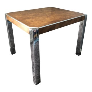 Vintage Burl Laminate Chrome Side Table For Sale