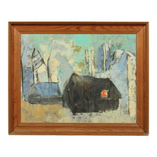 20th-C. Abstract House Oil Painting For Sale