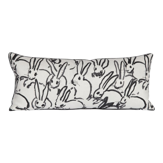 Black and White Bunny Large Lumbar Pillow For Sale