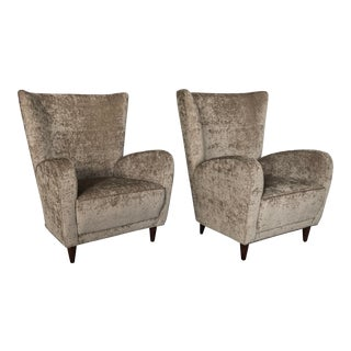 Late 20th Century Italian Upholstered Wingback Chairs- A Pair For Sale