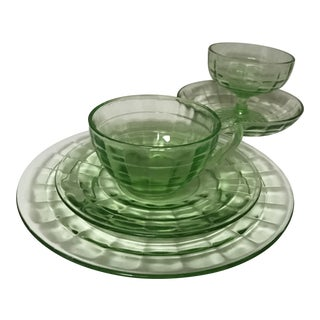 Vintage Hocking Uranium Depression Glass Luncheon Set - 5 Pcs. For Sale