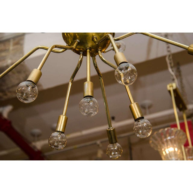 Italian Brass Spider Sputnik Chandelier Pendant Attributed to Arredoluce - Image 6 of 7