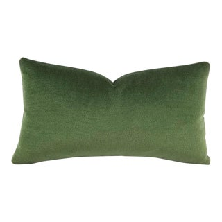 F. Schumacher Palermo Mohair Velvet Lumbar in Hedge Pillow Cover For Sale