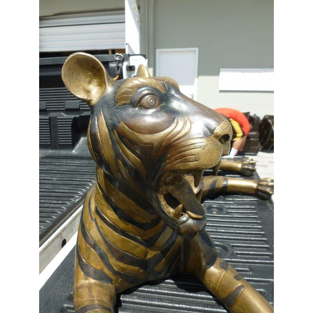 Bronze Large 70's Sitting Bronze Tiger For Sale - Image 7 of 8