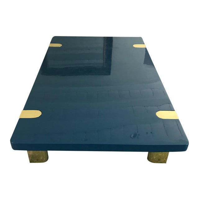 Chapman Coffee Table With Brass Legs Designed by Rita Konig for the Lacquer Company For Sale