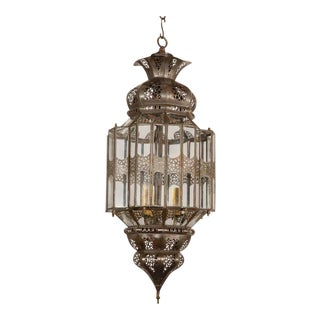Moroccan Moorish Clear Glass Lantern For Sale