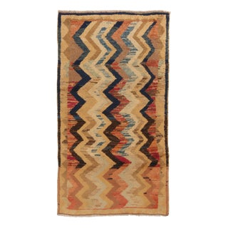 1940s Transitional Gabbeh Tan and Red Chevron Wool Persian Rug For Sale