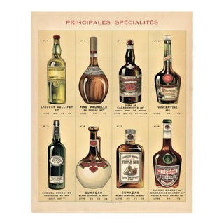 Matted French Alcohol Vintage Chromolithograph Print For Sale