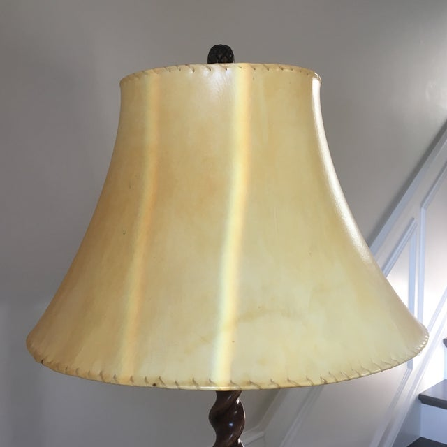 Antique English Barley Twist Oak Floor Lamp - Image 3 of 8