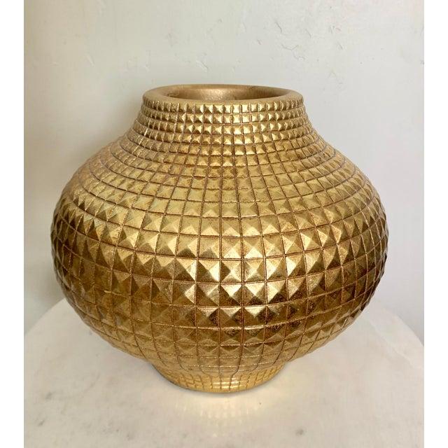 Contemporary Modern Round Full Gilt Gold Color Metallic Fiberglass Unbreakable Vase For Sale - Image 4 of 4