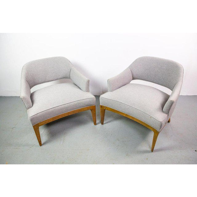 Pair of Harvey Probber lounge chairs. The fin shaped legs flow into the frame at an angle making a beautiful sculptural...