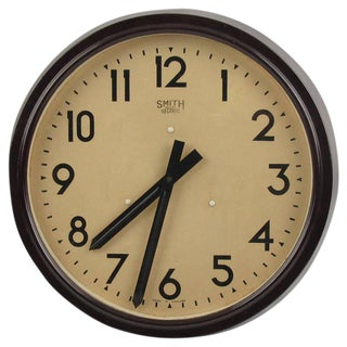 Smith Huge Industrial Factory English Art Deco Bakelite Wall Clock