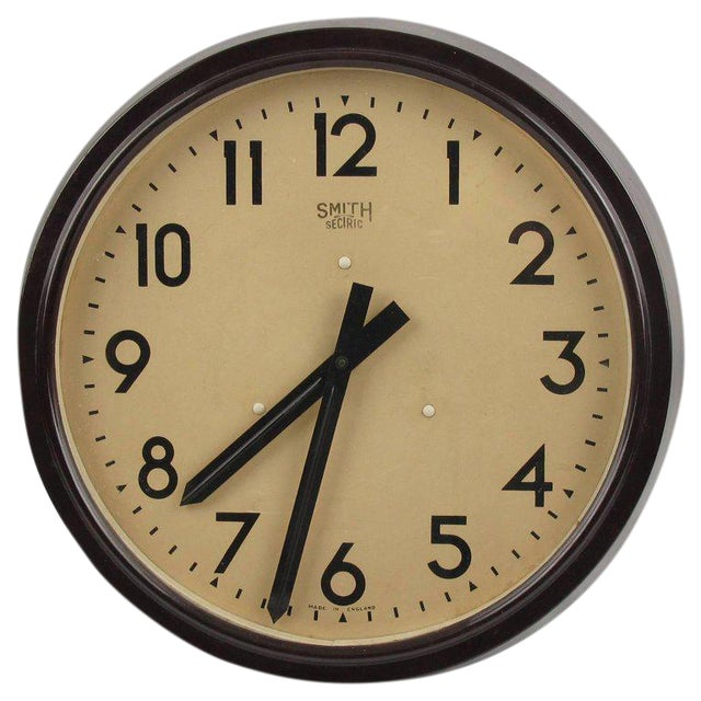 Smith Huge Industrial Factory English Art Deco Bakelite Wall Clock For Sale