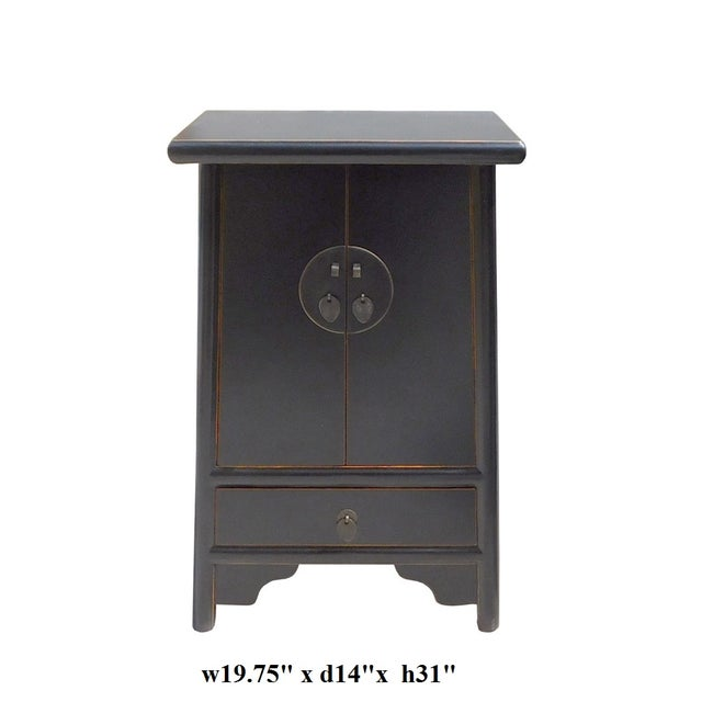 Chinese-Style Tapered Black Nightstand - Image 5 of 5