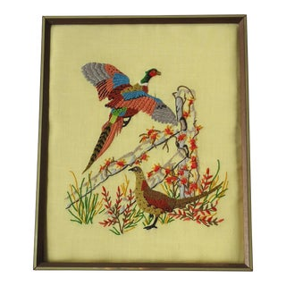 Vintage Framed Embroidery of Pheasant