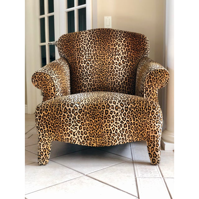 1980s Hollywood Regency Cheetah Roll Arm Chair For Sale - Image 9 of 9