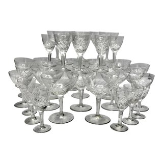 Art Deco Blown Cut Crystal Champagne Stemware Set - 36 Pieces For Sale