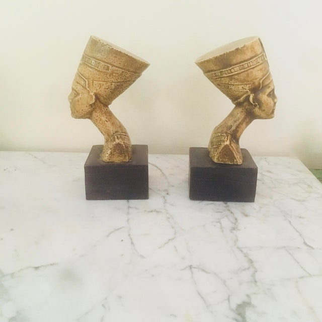 Boho Chic Vintage Villeroy & Boch Egyptian Style Nephrititi Bookends - a Pair For Sale - Image 3 of 5