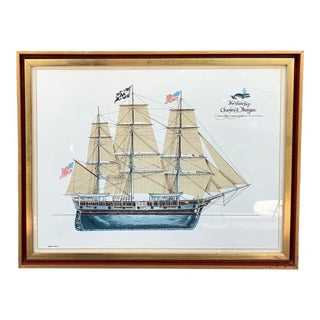 Vintage Mid-Century Whaling Tall Ship Charles W Morgan Framed Lithograph Print For Sale