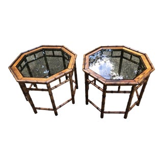 20th Century Chinoiserie Octagon Faux Bamboo Wood Side Tables - a Pair For Sale