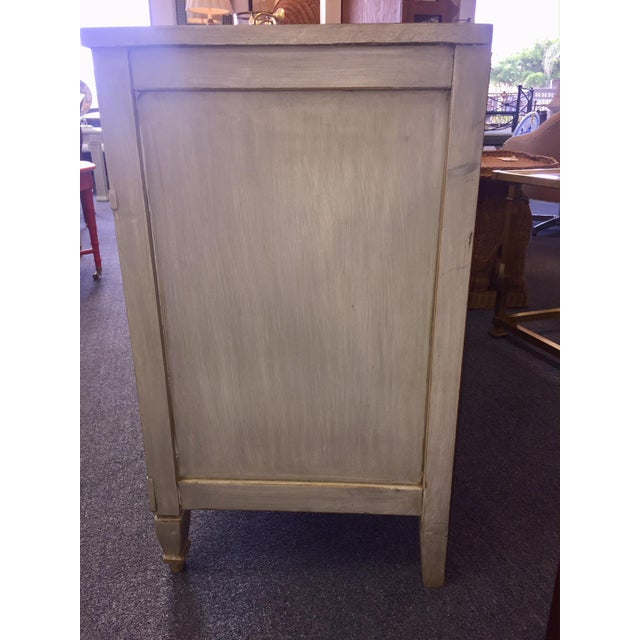 Gray Gray Lowboy Dresser With Circular Brass Pulls For Sale - Image 8 of 10