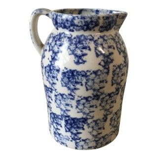 1930s Vintage Spongeware Pottery Ceramic Pitcher For Sale
