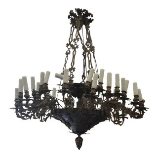 1860s Henry Hopper Bronze Chandelier For Sale