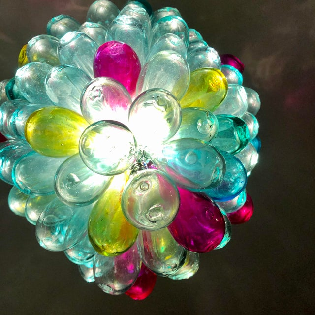 Transparent Recycled Handblown Glass Candy Colors Light Fixture For Sale - Image 8 of 12